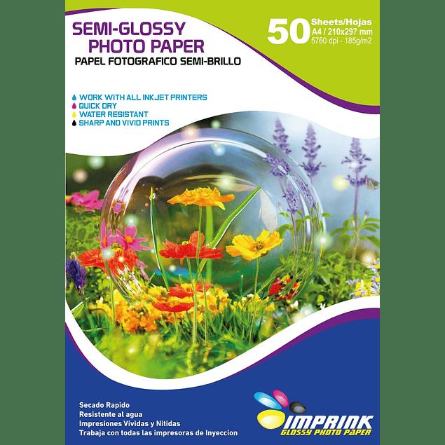 Papel Foto Semi-glossy A4 De 185gr/50 Hojas Semi Brillo
