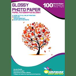Papel fotográfico glossy A4 115 gr / 100 hojas