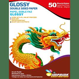 Papel Fotografico Glossy Carta doble faz  De 300gr/50 Hojas