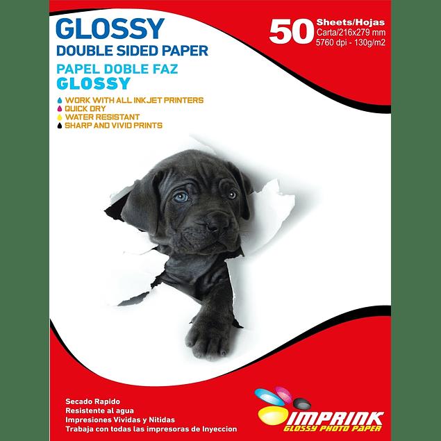 Papel Fotografico Glossy Carta doble faz  130gr/50 Hojas