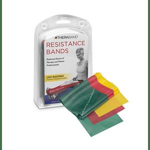 Kit de Bandas de Resistencia Liviana Theraband 1,5 mt (amarillo, rojo, verde)