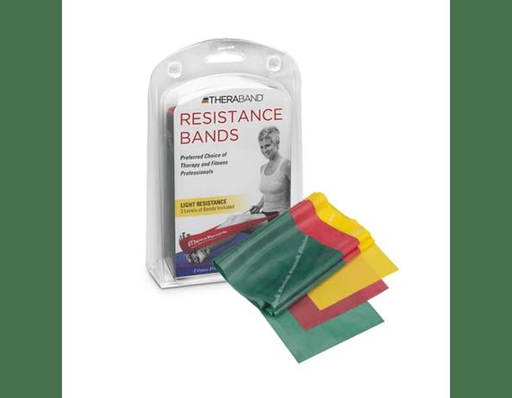 Kit de Bandas de Resistencia Liviana Theraband 1,5 mt (amarillo, rojo, verde)  1