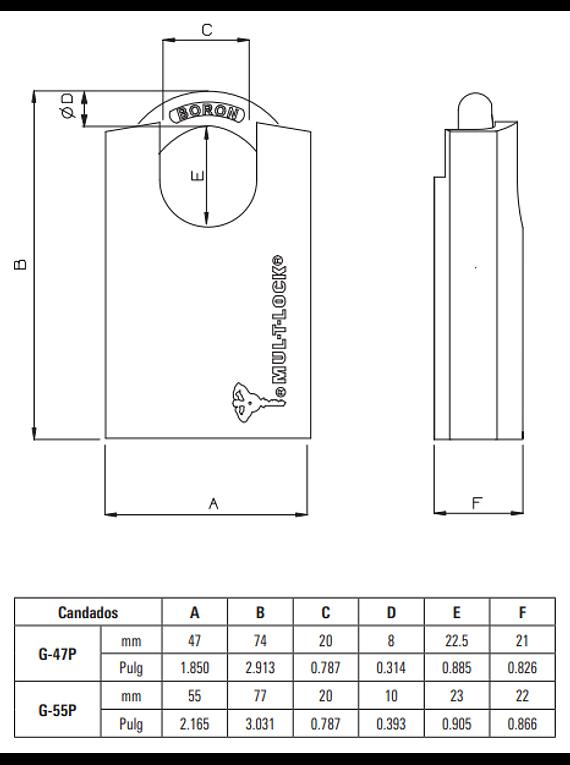 Candados Serie-G 55P Arco Protegido
