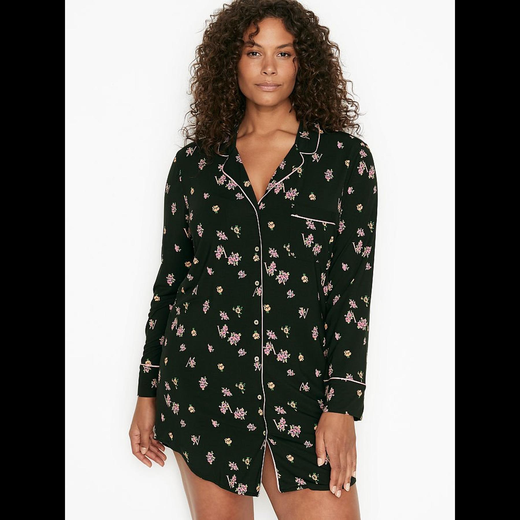 Camisa de dormir negra floreada Victoria Secret