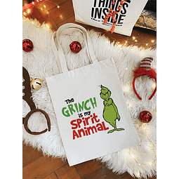 TOTE BAG GRINCH IS MY SPIRIT ANIMAL