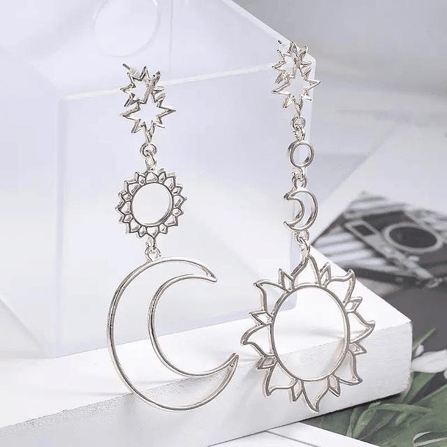 Aro Sol y Luna plata