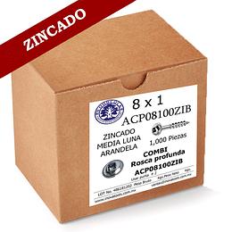 Tornillo Con Arandela 8 x 1 ZINC Caja 1,000 Piezas