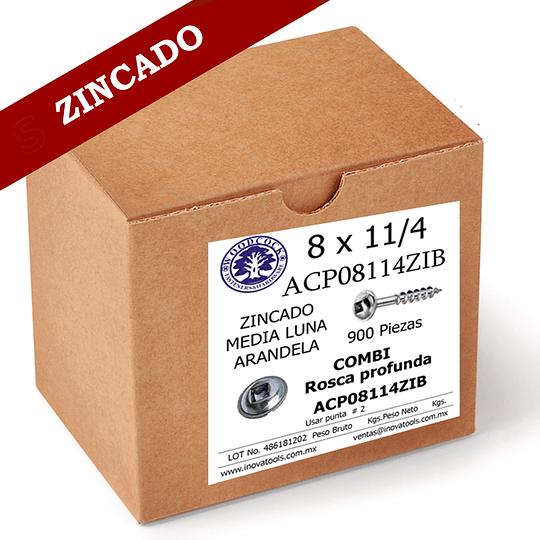 Tornillo Con Arandela 8 x 1 1/4 ZINC Caja 900 Piezas