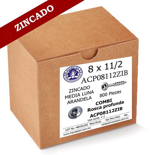 Tornillo Con Arandela 8 x 1 1/2 ZINC Caja 800 Piezas