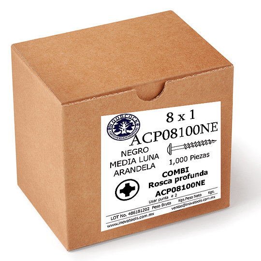 Tornillo Con Arandela 8 x 1 Negro Caja Con 1,000 Piezas