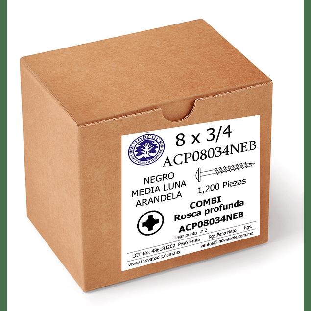 Tornillo Con Arandela 8 x 3/4  Negro Caja  1,200 Piezas