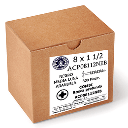 Tornillo Con Arandela 8 x 1 1/2  Negro Caja Con 800 Piezas