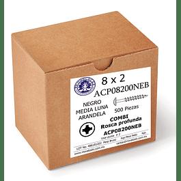 Tornillo Con Arandela 8 x 2  Negro Caja  500 Piezas