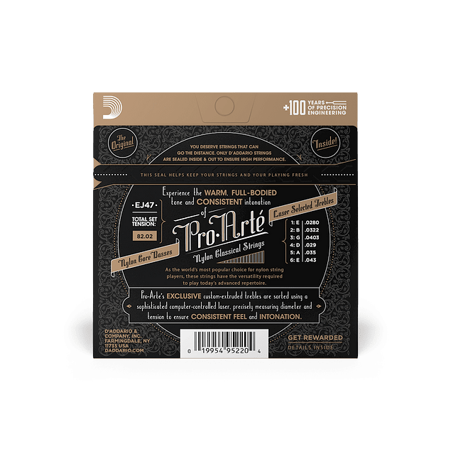 D'ADDARIO EJ47 CUERDAS NYLON GUITARRA ACUSTICA TENSION NORMAL ( Pack 2 Juegos )