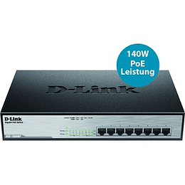 D-Link Switch No Admin 8 ports 10/100/1000 PoE (140W) Rack DGS-1008MP