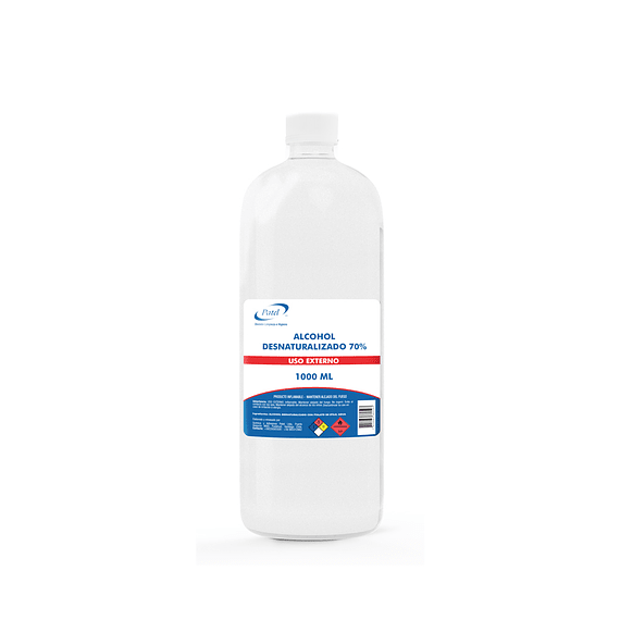 Alcohol desnaturalizado 70% Botella 1 Litro