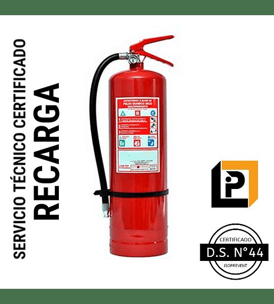 Recarga Extintor 10 Kilos PQS 75%, RP10