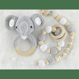 Set mordedor elefante y portachupete