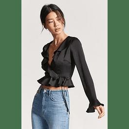 Blusa de moda con boleros manga larga