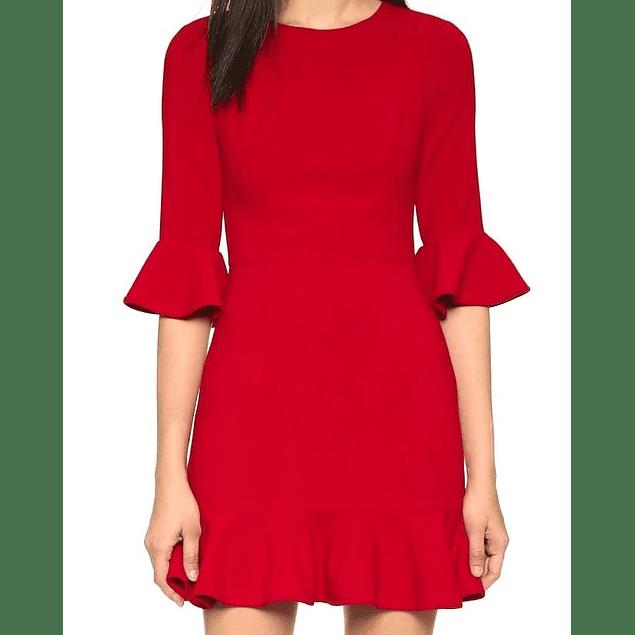 Vestido de moda cuello redondo y  manga campana