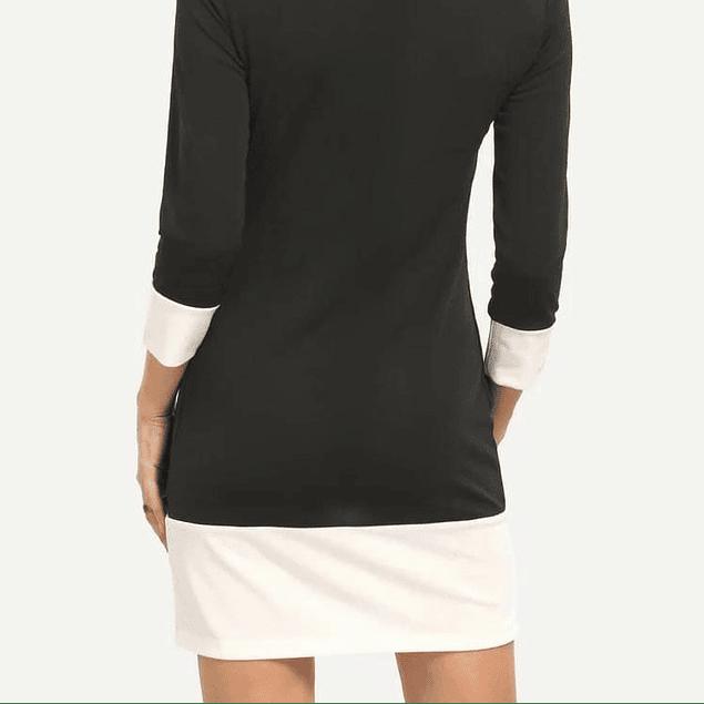 Vestido de moda combinado cuello redondo