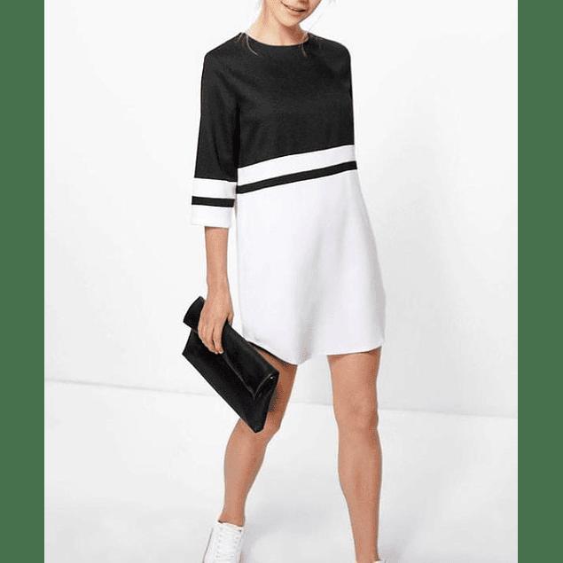 Vestido de moda bicolor manga tres cuartos