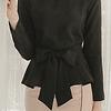 Blusa de moda con moño delantero manga larga