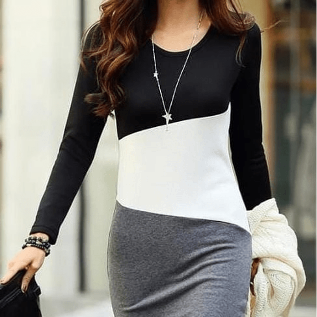 Vestido de moda en algodón manga larga