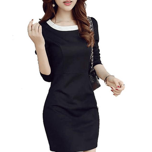 Vestido de moda cuello combinado