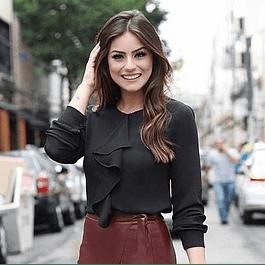 Blusa de moda de bolero manga larga y cuello redondo