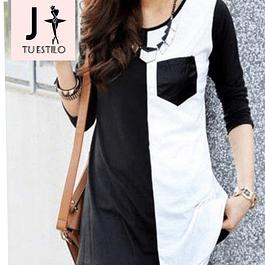 Blusa de moda blanco y negro con bolsillo