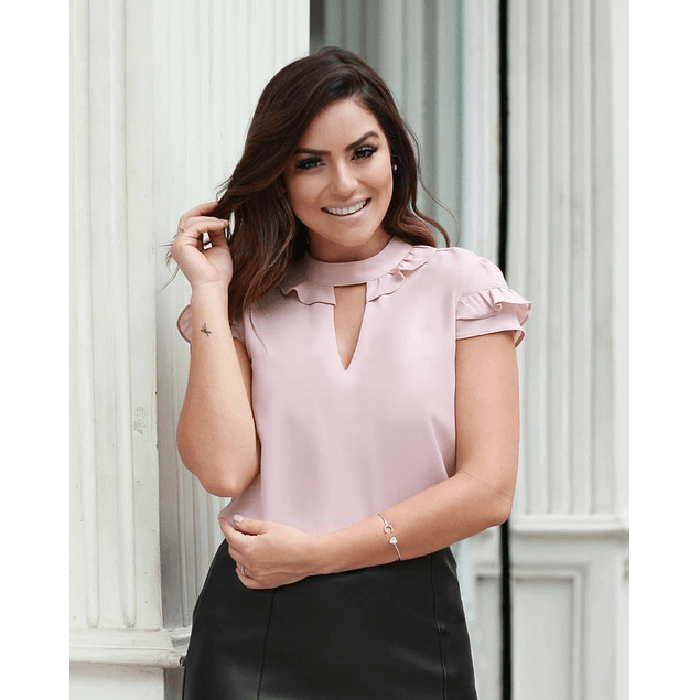 Blusa de moda manga corta boleros y cuello redondo