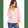Blusa de moda manga larga con cuello en v