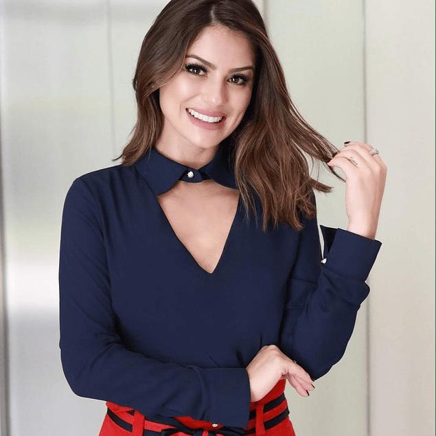 Blusa de moda manga larga con cuello v