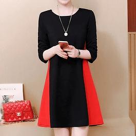 Vestido elegante combinado manga larga