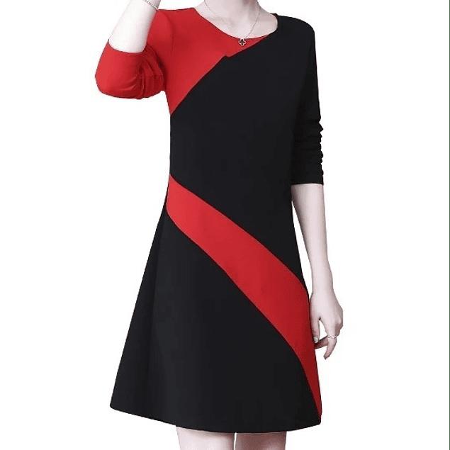 Vestido elegante negro y rojo
