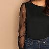 Blusa de moda con manga de perlas