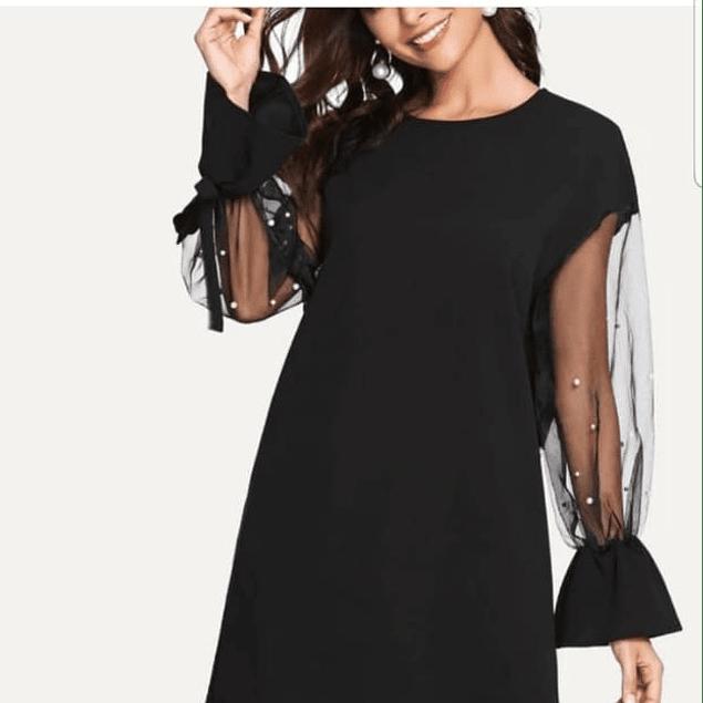 Vestido de moda manga larga anudada