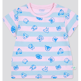 Polera Niños Animal Crossing  Pink & Blue Strips