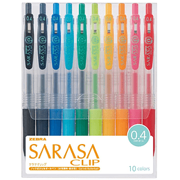 Lápices Sarasa Clip .4MM 10 colores