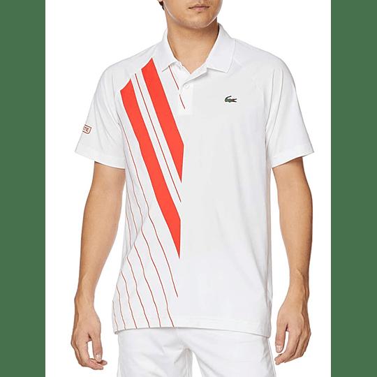Polera Lacoste Novak Djokovic White Red Stripes