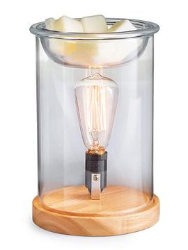Lámpara y Calentador de Cera Aromática Vidrio y Madera Edison