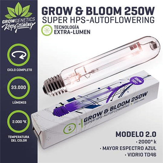 Ampolleta Grow y Bloom 250w Grow Genetics