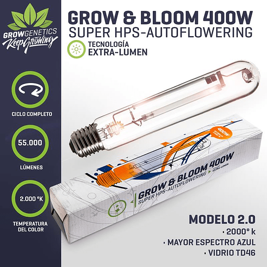 Ampolleta Grow y Bloom 400w Grow Genetics