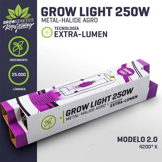 Ampolleta Haluro metal Grow Light 250w extra-lumen