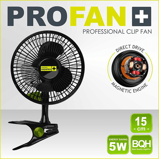 Ventilador de pinza clip fan 15cm/15w   Garden High Pro