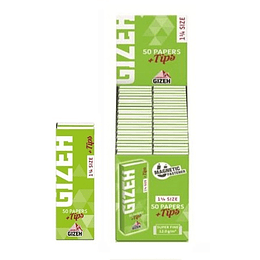Papelillos Gizeh verde + tips 1 1/4 Super Fine Magnet