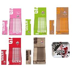 Pack 5 cajitas papelillos Gizeh 1 1/4 (pink,verde,pure,brown y rojo) +Bandeja Grande