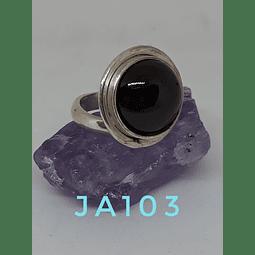 AG- plata 950 Cabuchón redondo con piedra Granate fina india.