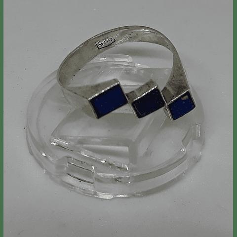 AG - plata 950 Lapislázuli delgado.